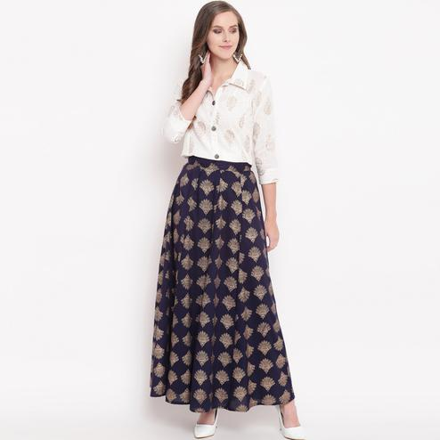 Breathtaking White-Navy Blue Colored Partywear Foil Printed Cotton Shirt-Skirt Set