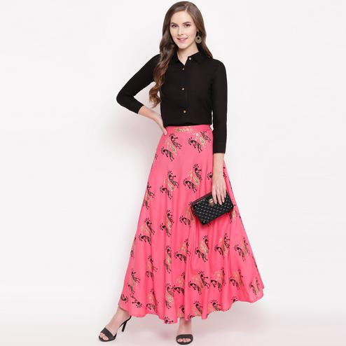 Ethnic Black-Pink Colored Casual Foil Printed Rayon Shirt-Skirt Set