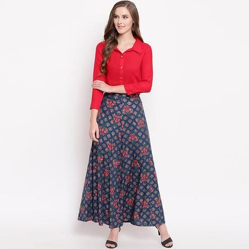Ravishing Red-Blue Colored Casual Floral Printed Rayon Shirt-Skirt Set