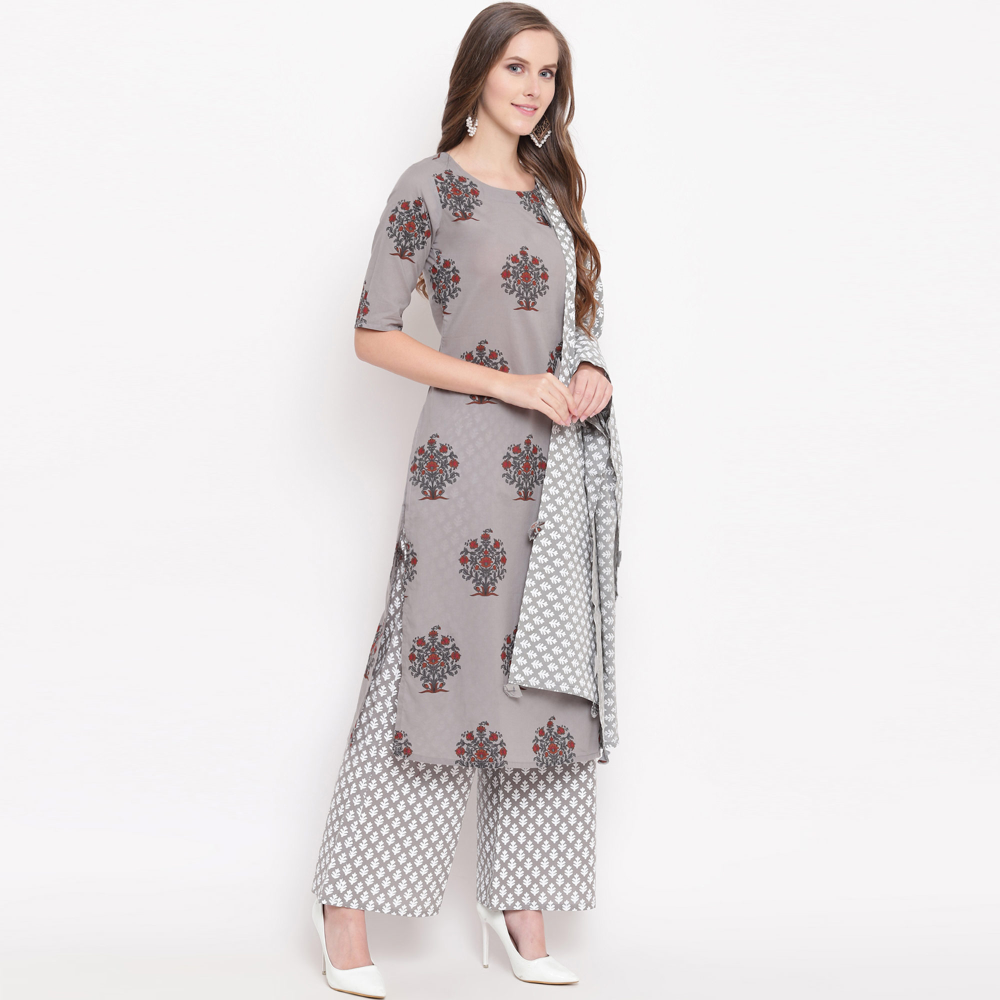 Surpassing Gray Colored Casual Floral Printed Cotton Kurti-Palazzo Suit