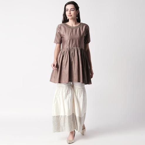 Charming Brown Colored Casual Embroidered Silk Kurti-Sharara Set