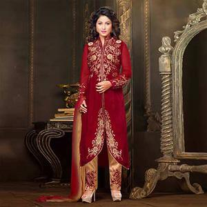 Dark Red Velvet Suit