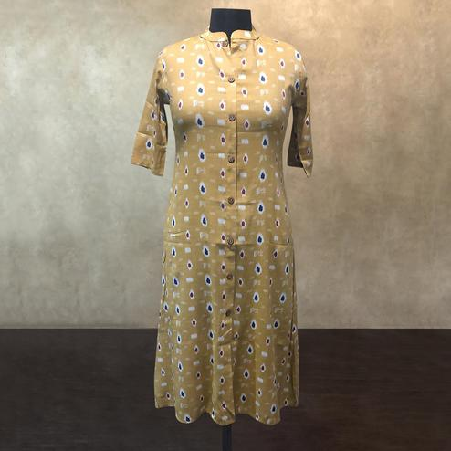 Ideal Yellow Colored Casual Printed Cotton Kurti