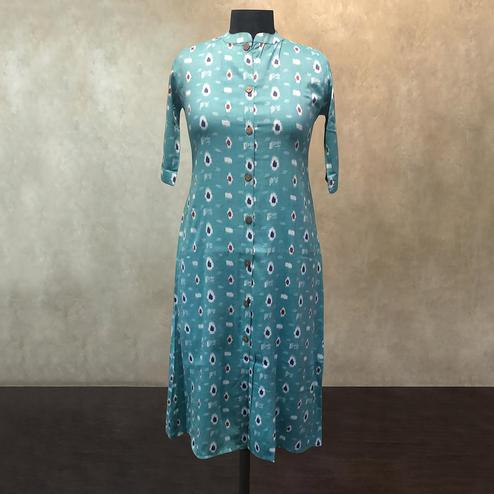Pleasance Sky Blue Colored Casual Printed Cotton Kurti