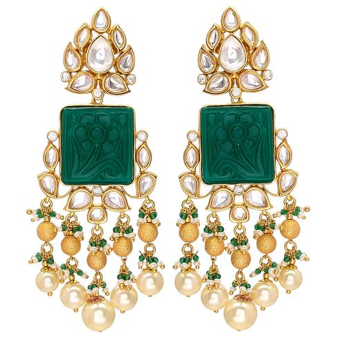 Glorious Designer Green Carving Stone Kundan Earrings with Pearl Hanging