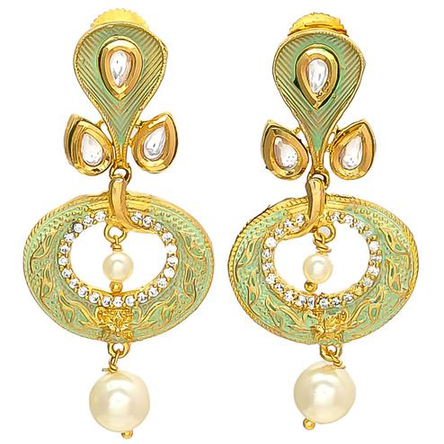 Imposing Designer Mint Meena American Diamond Pearl Earrings