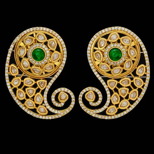 Majesty Exclusive Designer Kundan and American Diamond Green Stone Earrings