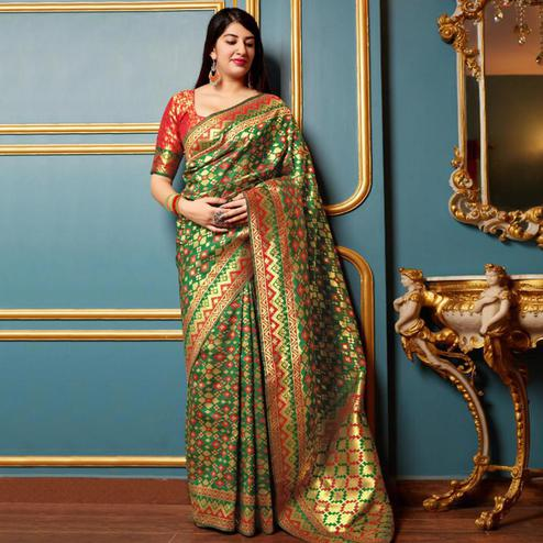 Energetic Green Colored Festive Wear Woven Banarasi Silk Saree