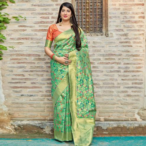 Glowing Light Green Colored Festive Wear Woven Banarasi Silk Saree