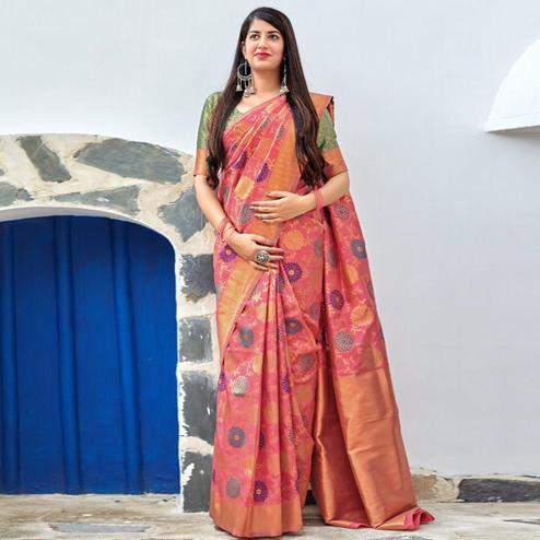 Exceptional Pink Colored Festive Wear Woven Banarasi Silk Saree