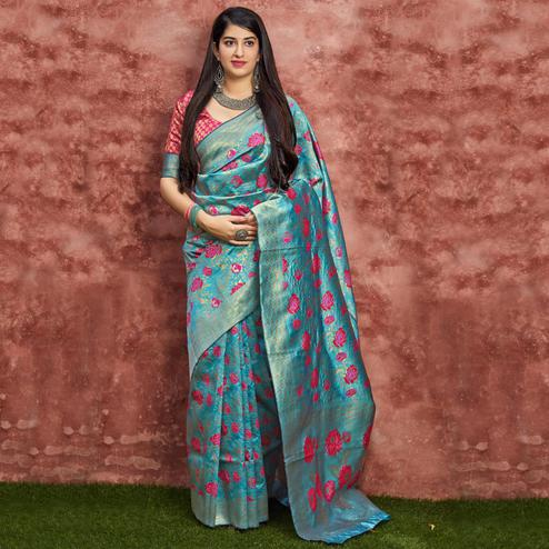 Gleaming Sky Blue Colored Festive Wear Woven Banarasi Silk Saree