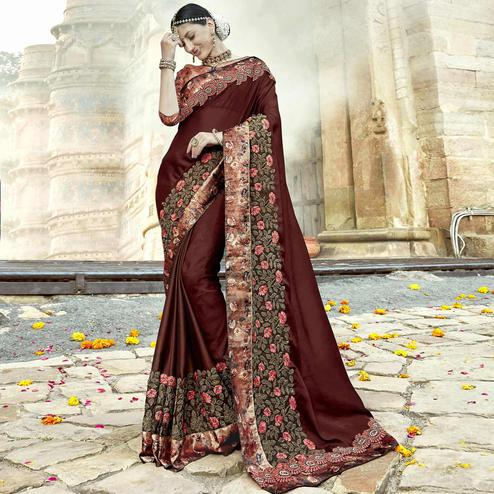 Majesty Brown Colored Partywear Embroidered Georgette Saree
