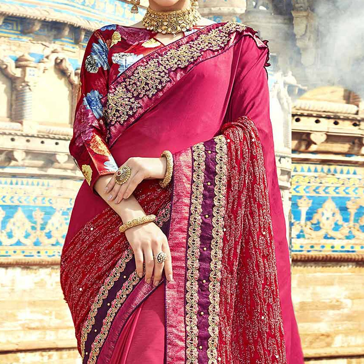 Impressive Pink Colored Partywear Embroidered Georgette Saree