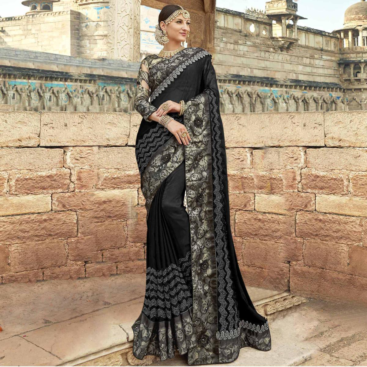 Mesmerising Black Colored Partywear Embroidered Georgette Saree