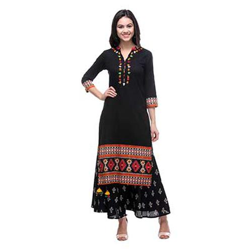 Black Cotton Cambric Kurti