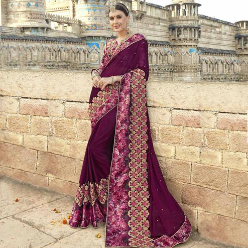 Ethnic Wine Colored Partywear Embroidered Georgette Saree