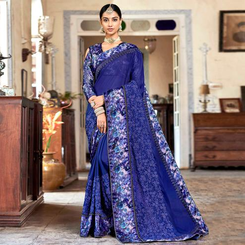 Blooming Blue Colored Partywear Embroidered Georgette Saree