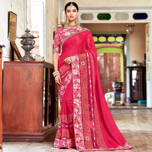 Delightful Pink Colored Partywear Embroidered Georgette Saree