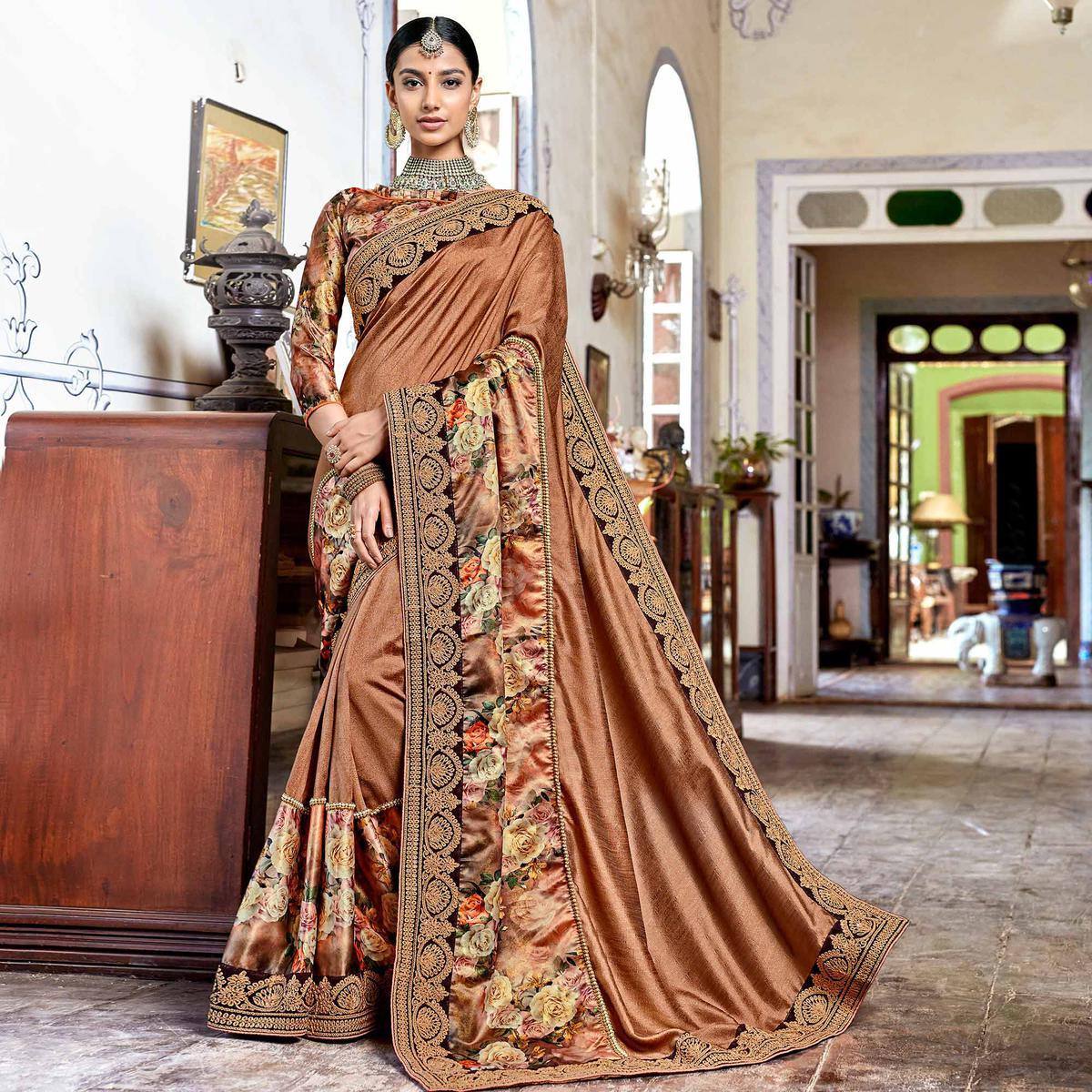 Captivating Light Brown Colored Partywear Embroidered Georgette Saree