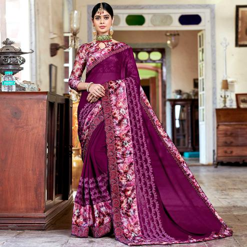 Innovative Purple Colored Partywear Embroidered Georgette Saree
