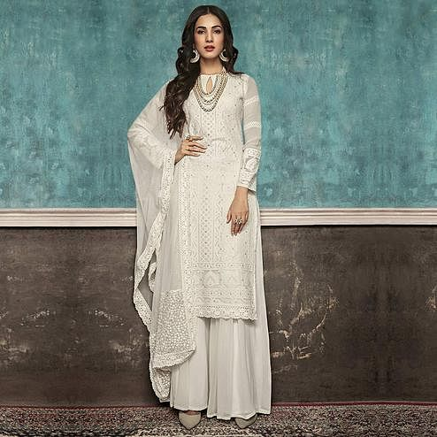 Demanding Off White Colored Partywear Embroidered Faux Georgette Palazzo Suit