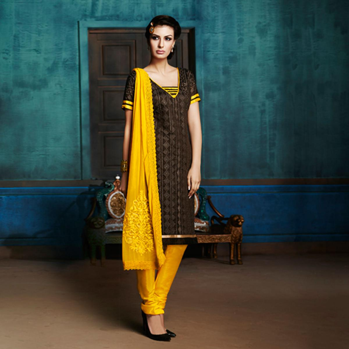 Black - Yellow Heavy Chanderi Banarasi Suit