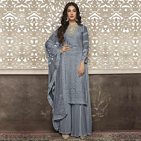 Refreshing Slate Grey Colored Partywear Embroidered Faux Georgette Palazzo Suit