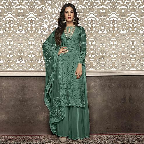 Flattering Green Colored Partywear Embroidered Faux Georgette Palazzo Suit