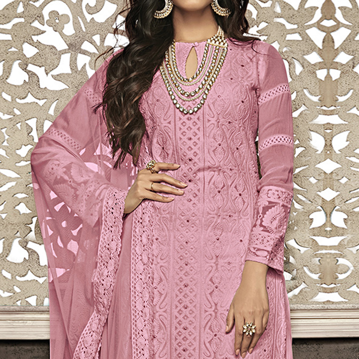 Excellent Pink Colored Partywear Embroidered Faux Georgette Palazzo Suit