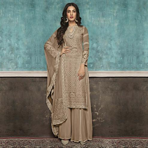 Preferable Light Brown Colored Partywear Embroidered Faux Georgette Palazzo Suit