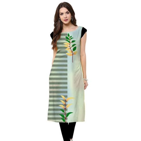 Adorable Teal Gray Colored Casual Printed Crepe Kurti