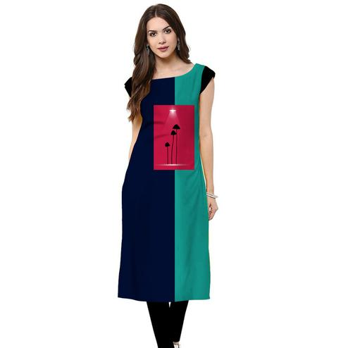 Glorious Navy Blue Colored Casual Printed Crepe Kurti