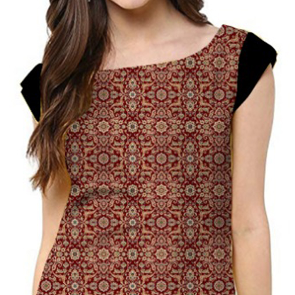 Attractive Maroon Colored Casual Printed Crepe Kurti