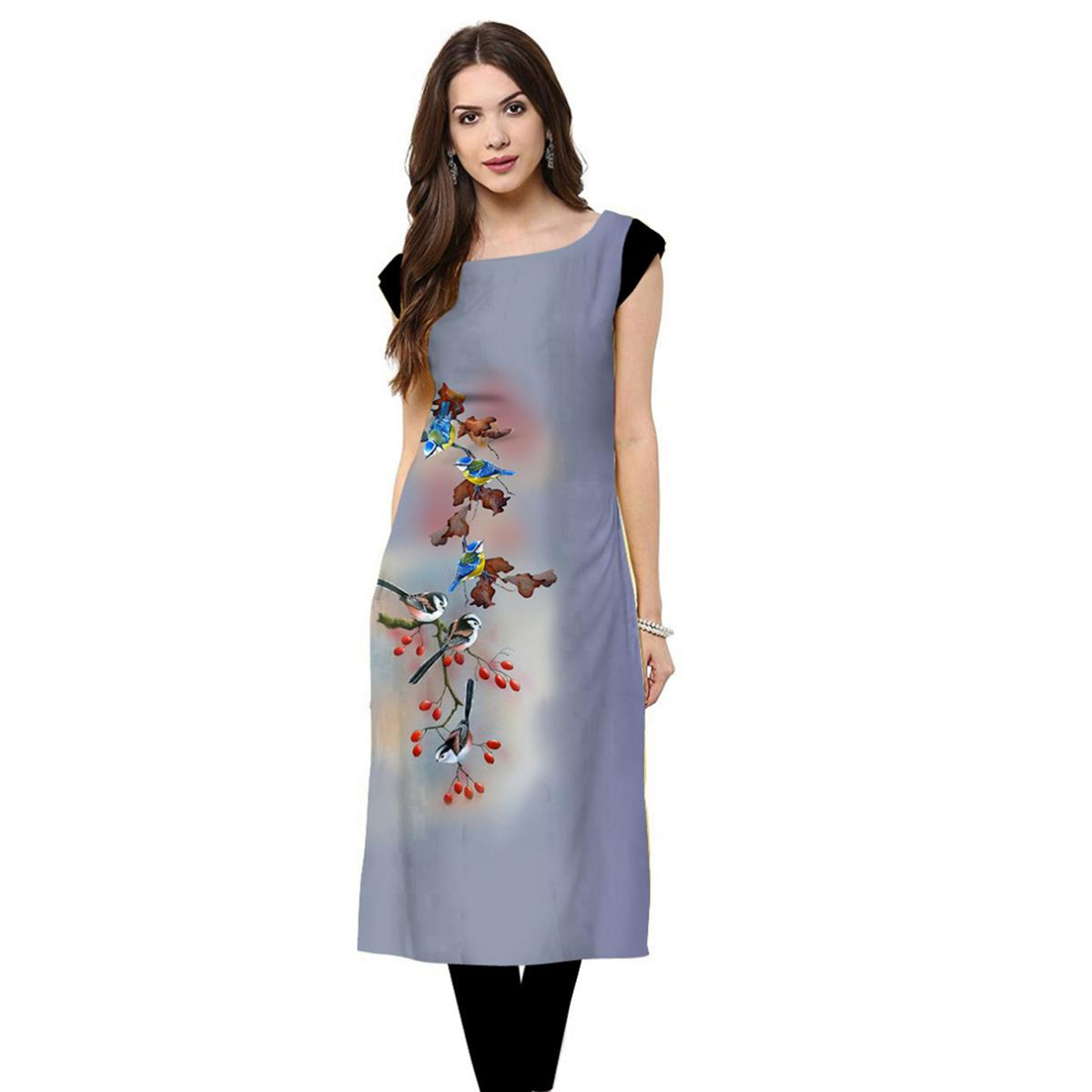 Beautiful Light Blue Colored Casual Printed Crepe Kurti