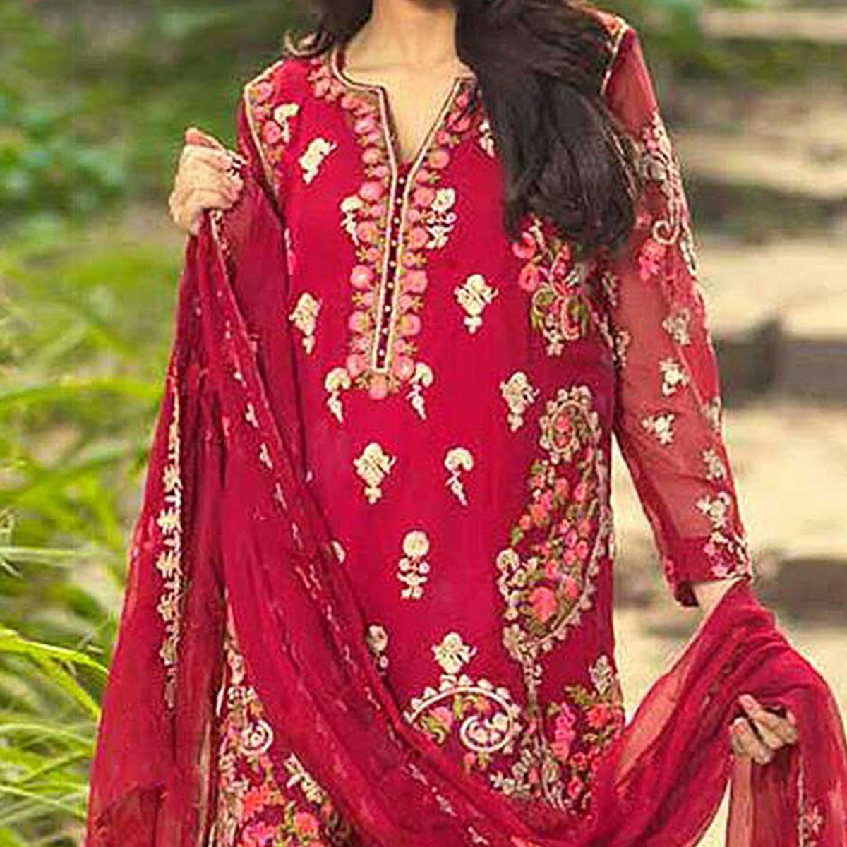 Dark Red Georgette Pakistani Style Suit