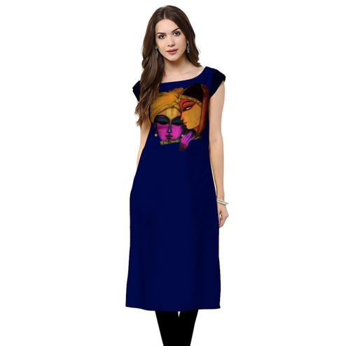 Graceful Royal Blue Colored Casual Printed Crepe Kurti