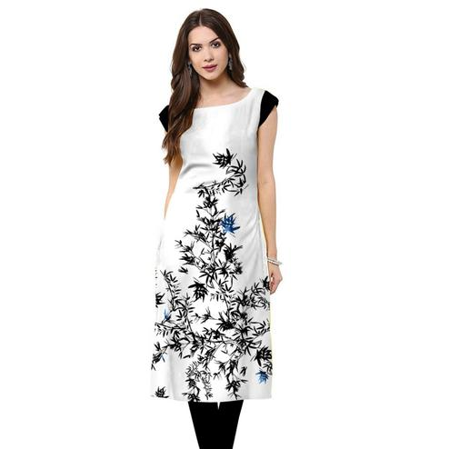 Blooming White Colored Casual Printed Crepe Kurti
