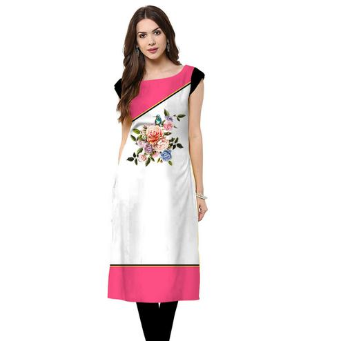 Charming White Colored Casual Printed Crepe Kurti