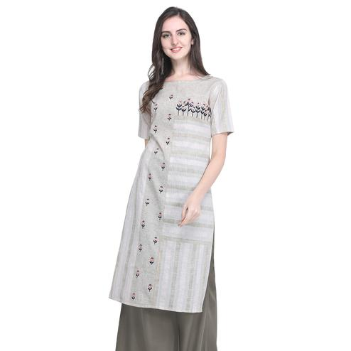 Blissful Light Gray Colored Casual Embroidered Cotton Kurti