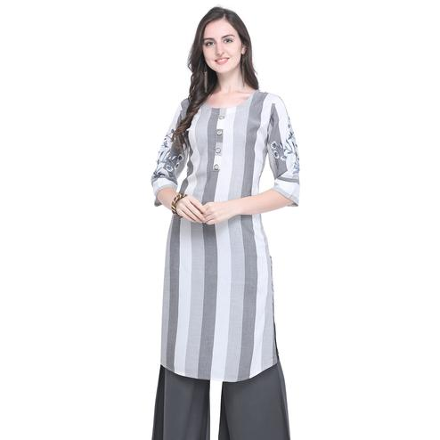 Ideal Gray Colored Casual Embroidered Rayon Kurti