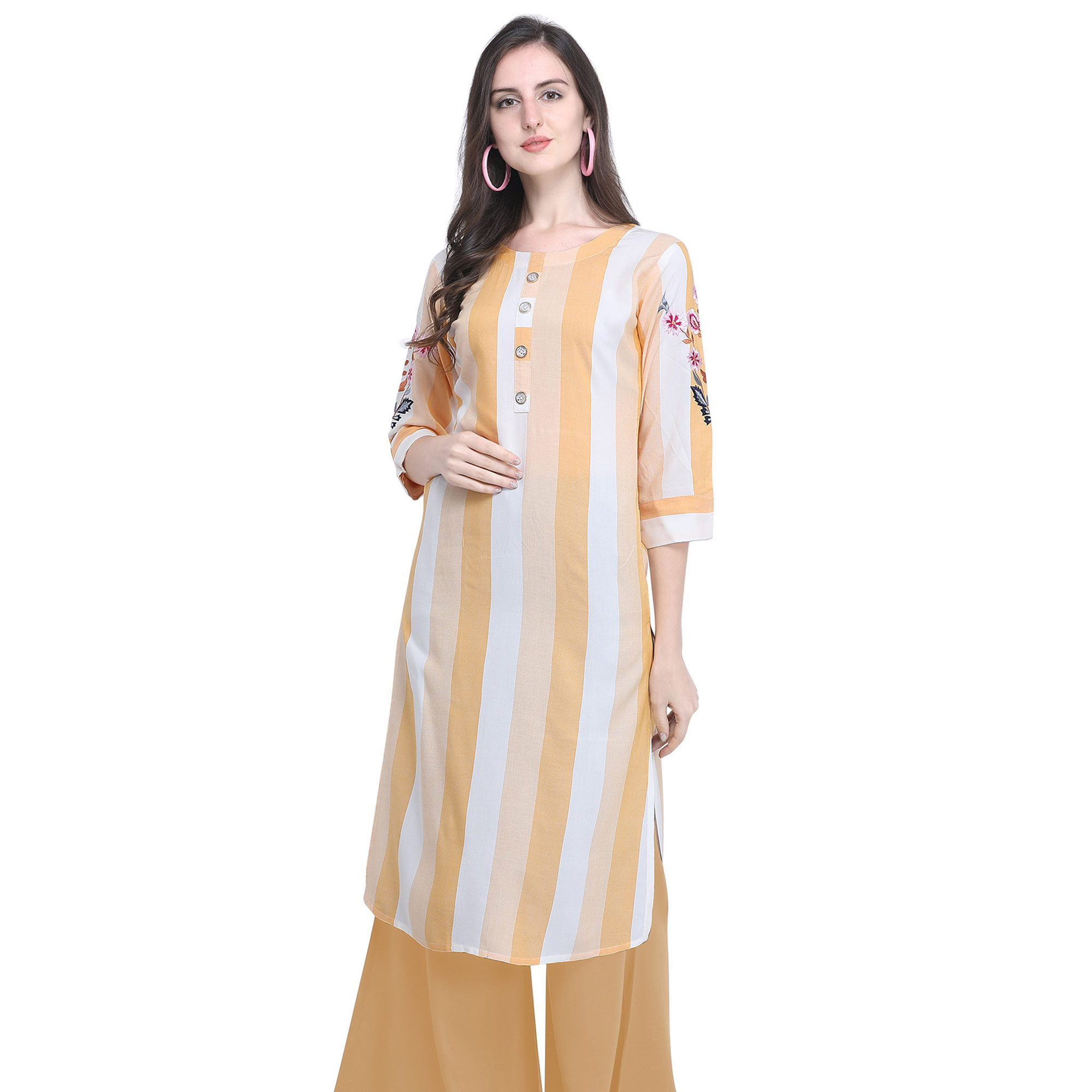 Imposing Light Yellow Colored Casual Embroidered Rayon Kurti