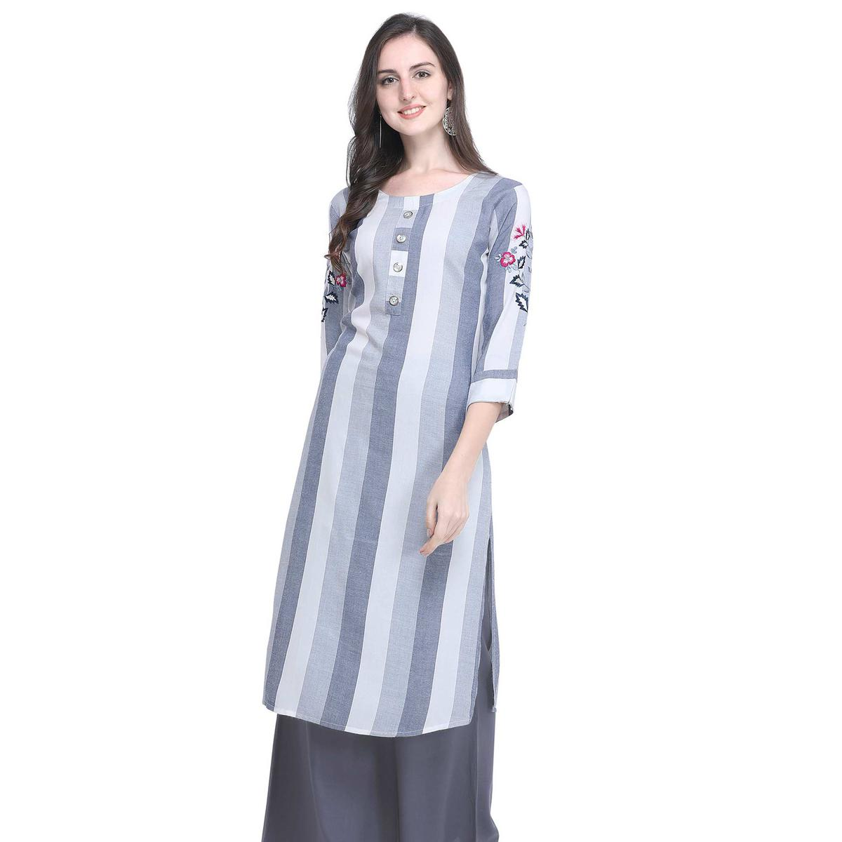 Lovely Gray Colored Casual Embroidered Rayon Kurti