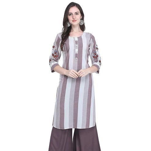 Majesty Mauve Colored Casual Embroidered Rayon Kurti