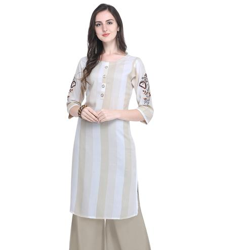 Impressive Beige Colored Casual Embroidered Rayon Kurti