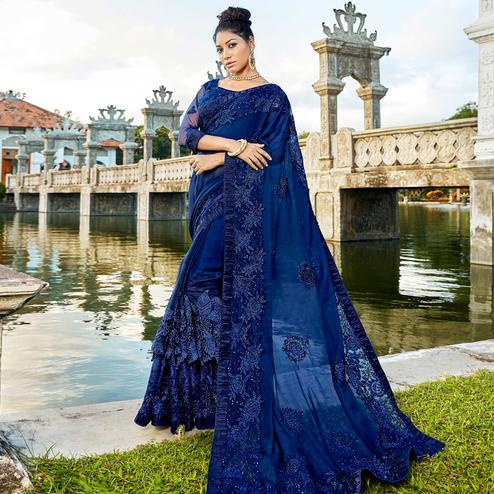 Eye-catching Navy Blue Colored Partywear Embroidered Georgette Saree