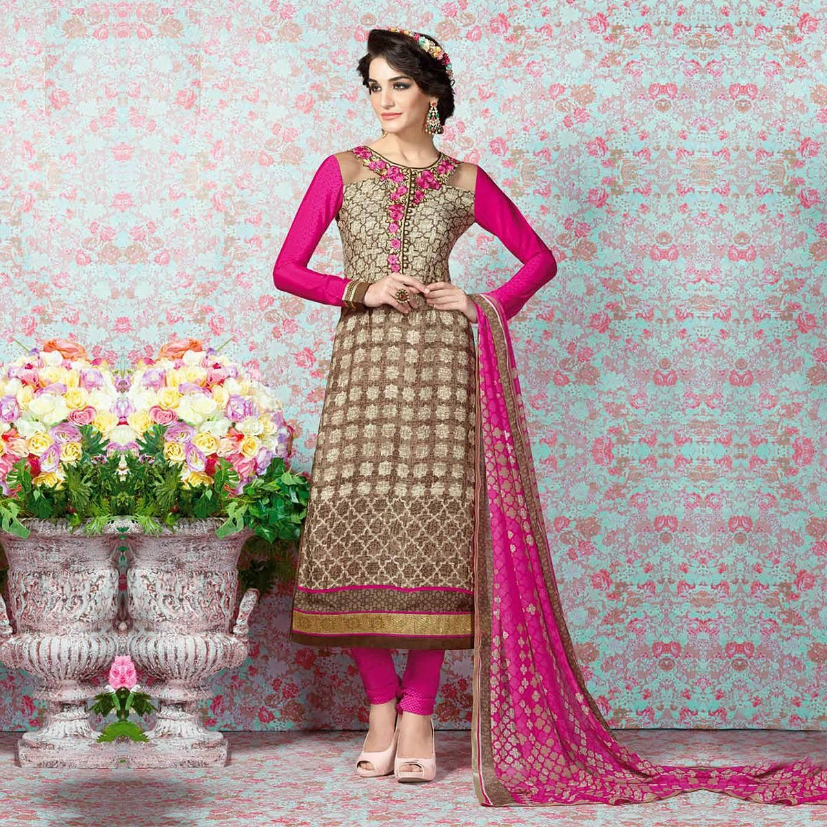 Brown - Pink Franch Crape Suit