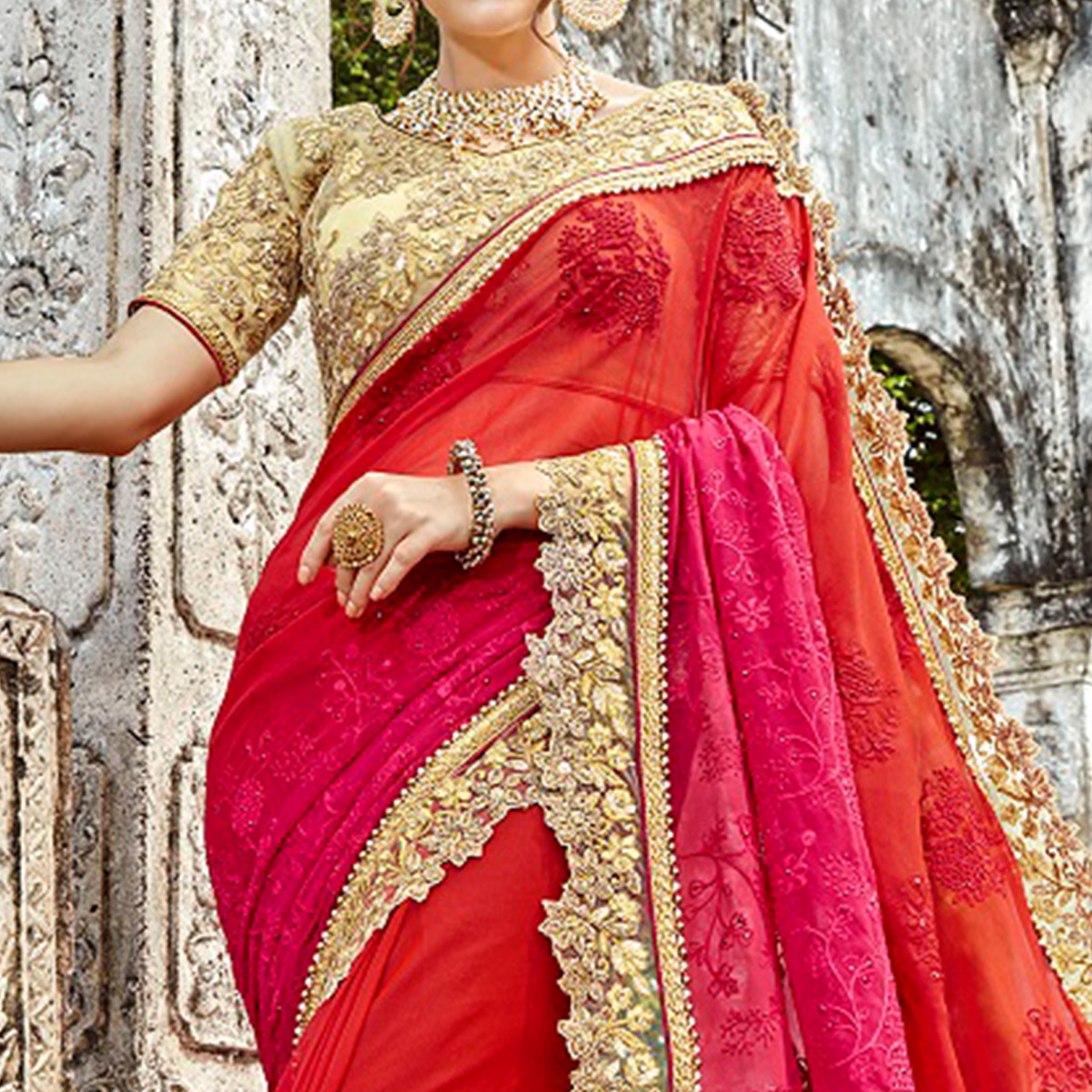Fantastic Pink-Red Colored Partywear Embroidered Georgette Saree