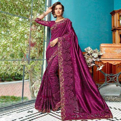 Gorgeous Purple Colored Partywear Embroidered Art Silk Saree