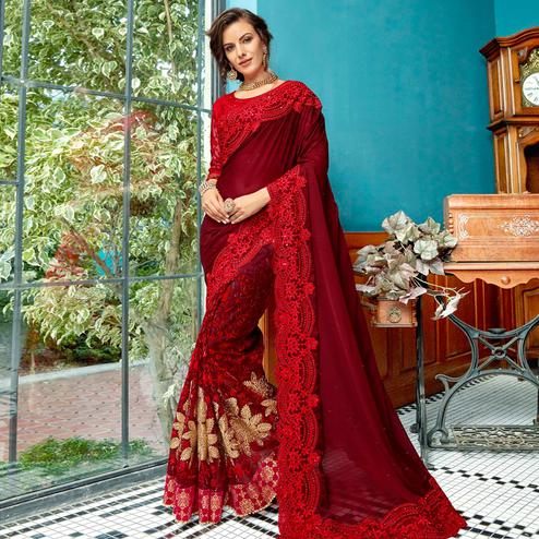 Ideal Maroon Colored Partywear Embroidered Georgette Saree