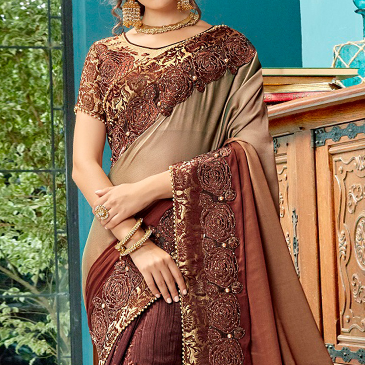 Majesty Brown Colored Partywear Embroidered Georgette-Art Silk Saree